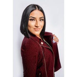 Burgundy Fitted Zipper Jacket